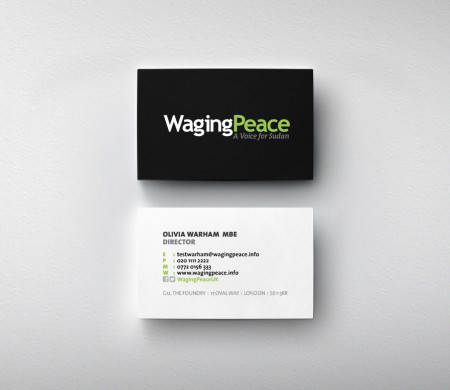 Waging Peace business cards